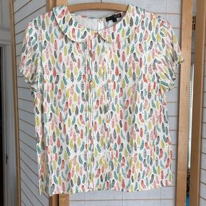 Sz 12 colorful feather pattern rayon summer blouse